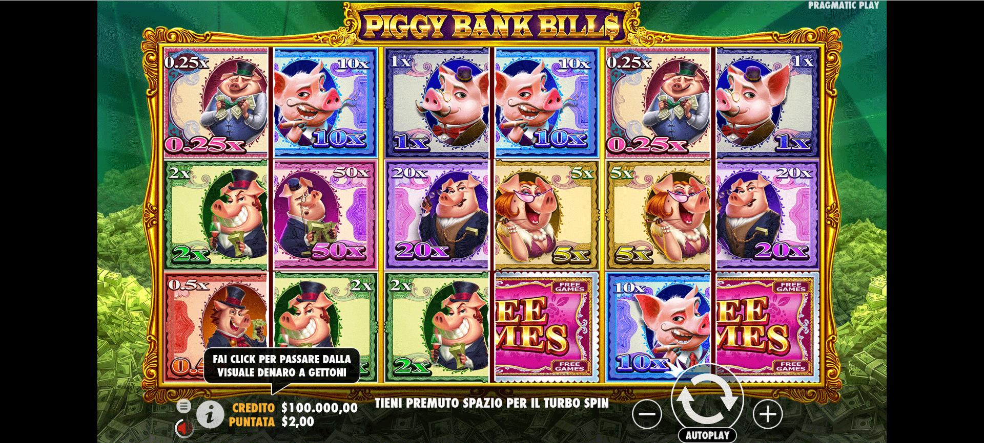 Slot Piggy Bank Bills