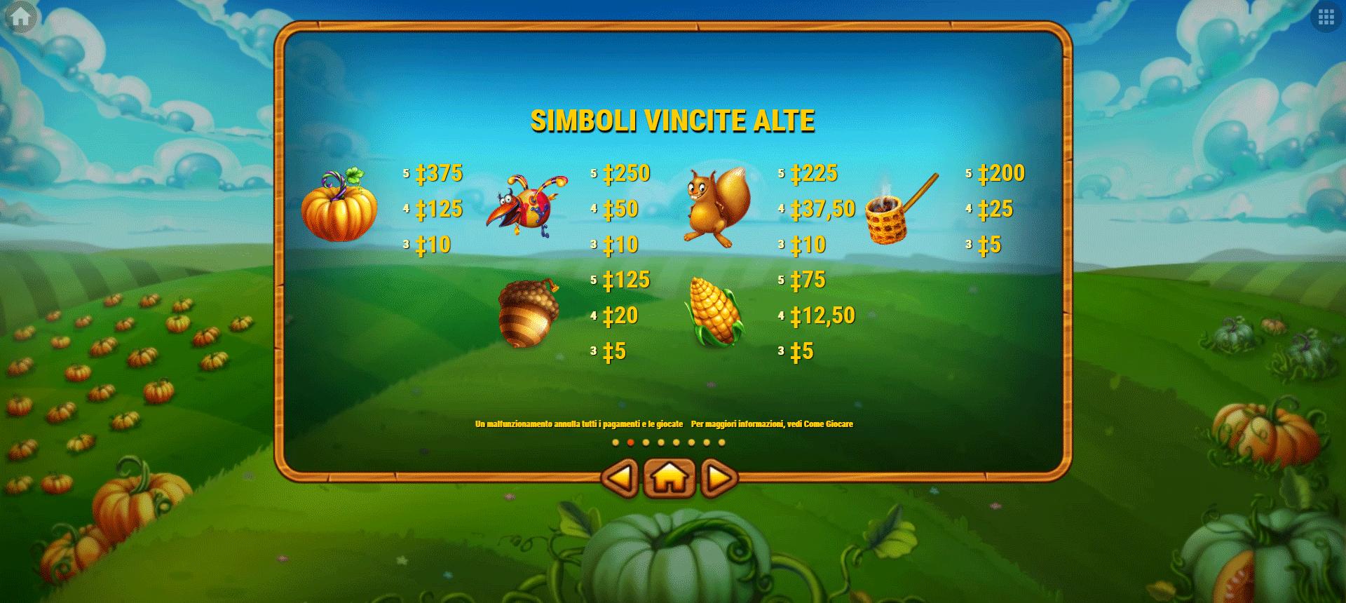 paytable della slot machine pumpkin patch
