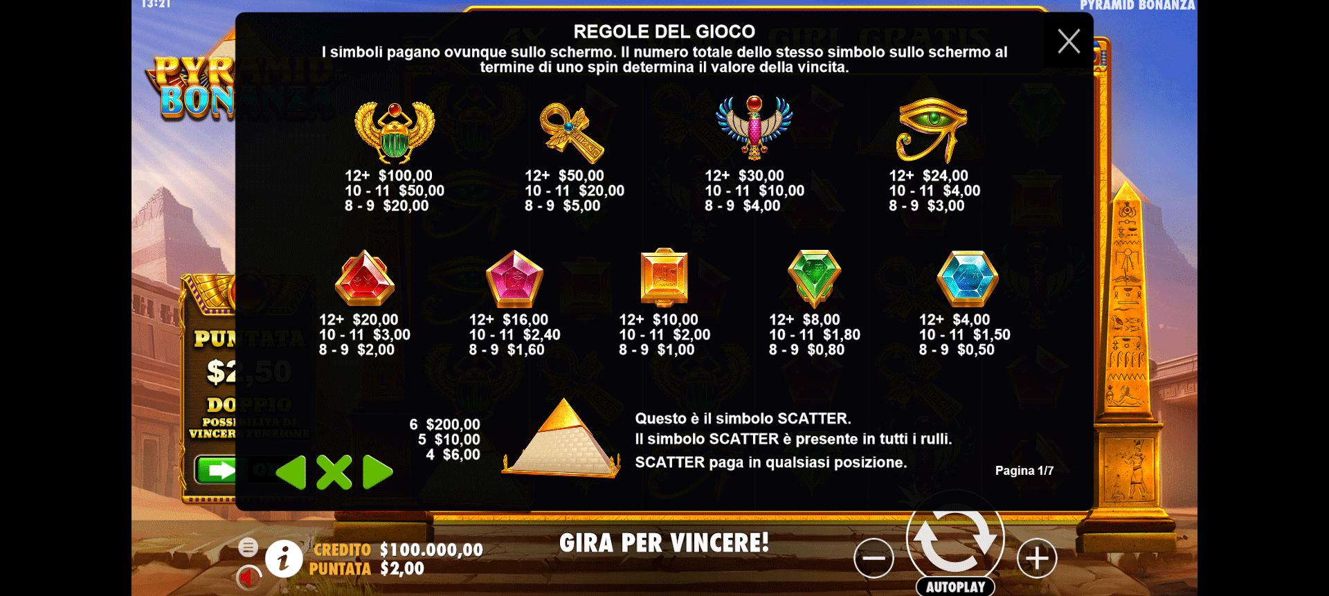 tabella dei simboli del gioco slot online pyramid bonanza