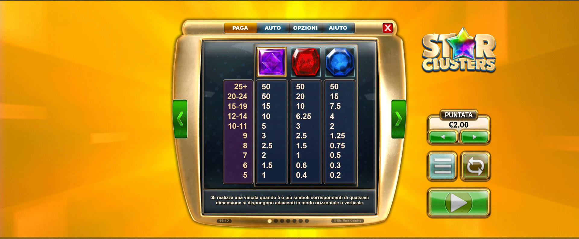 tabella dei pagamenti della slot machine star clusters megaclusters