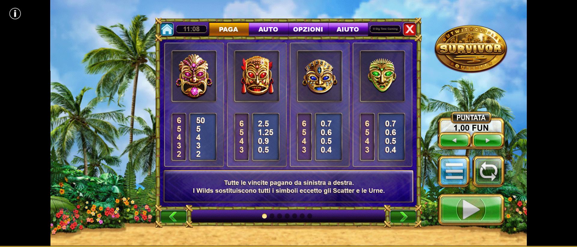 paytable della slot online survivor megaways