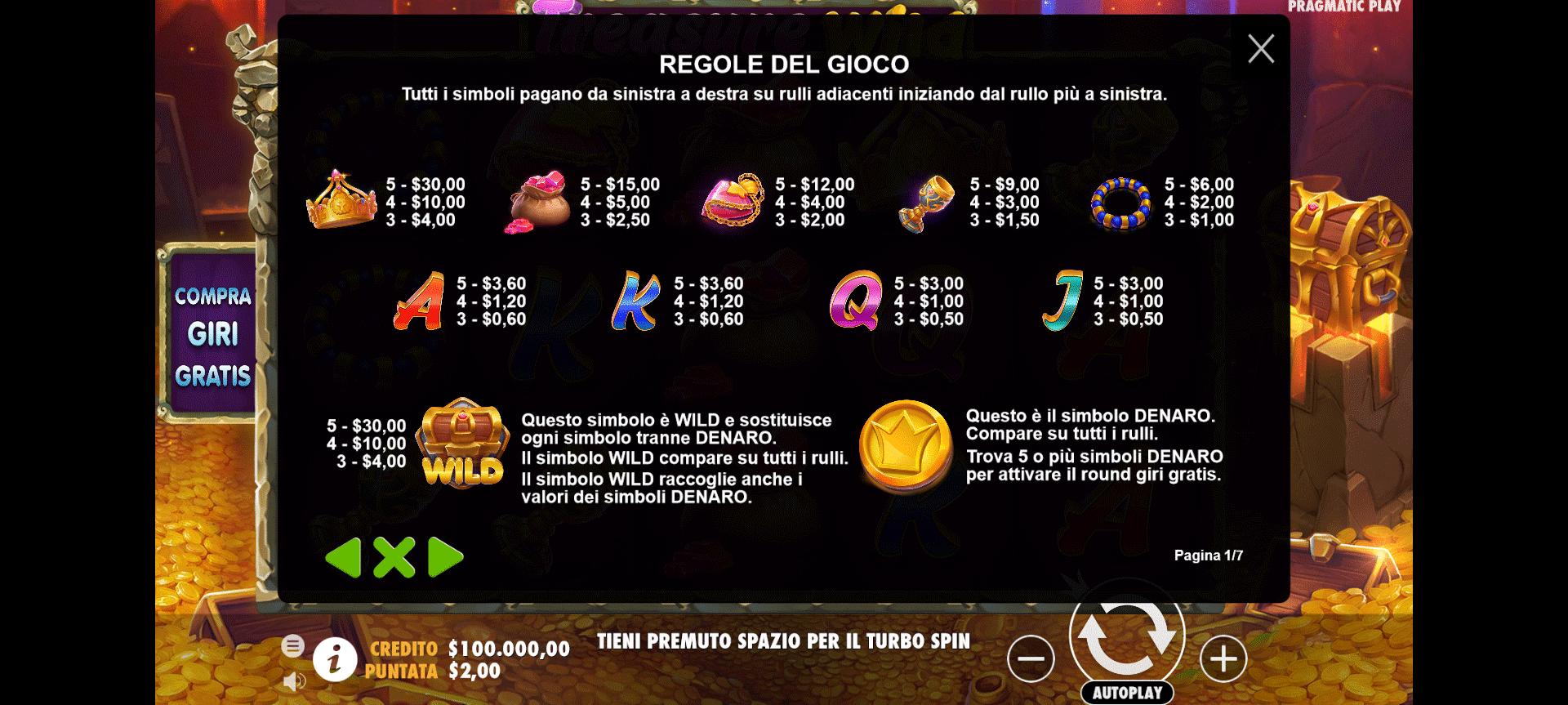 tabella dei pagamenti della slot online treasure wild