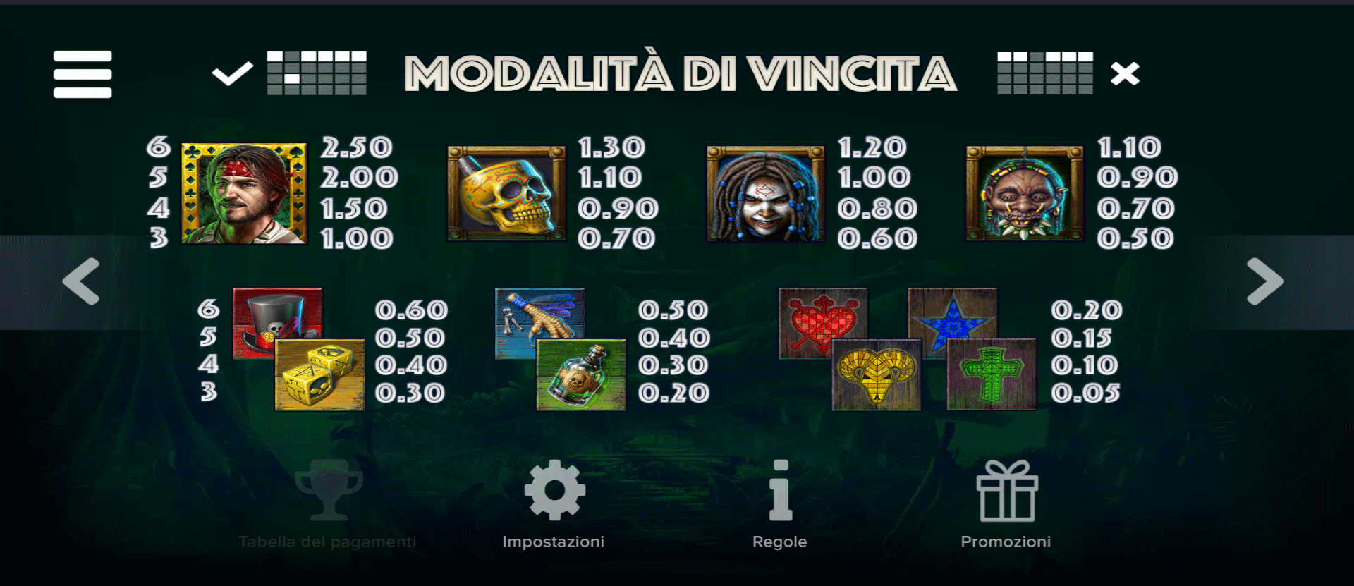simboli della slot machine voodoo gold