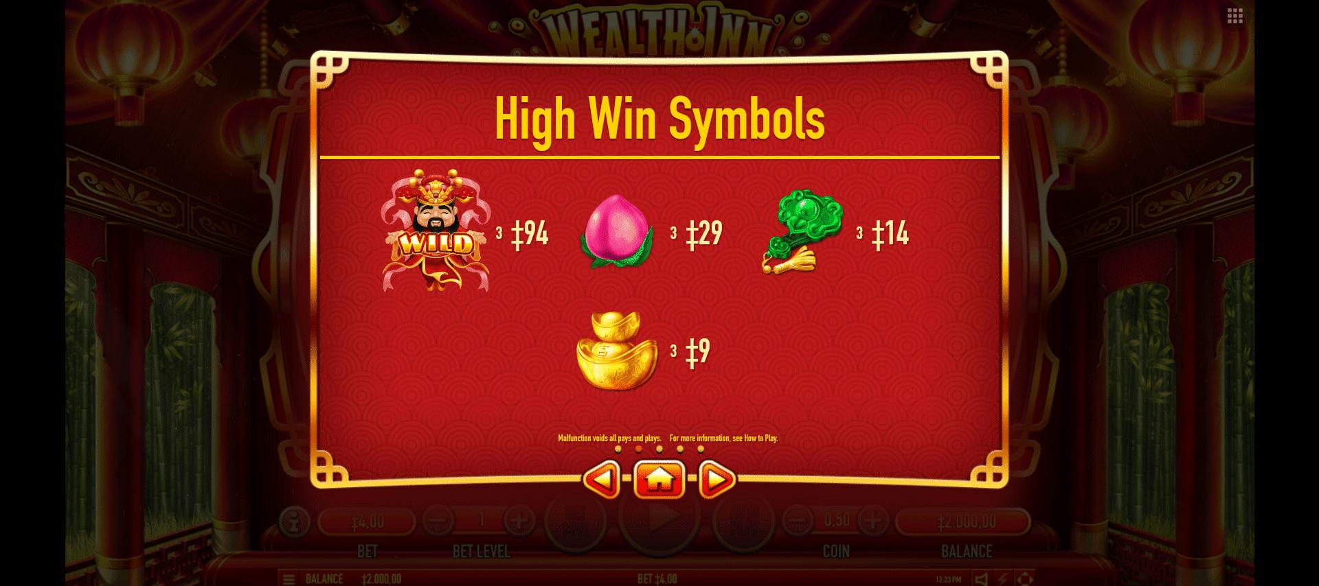 paytable dei simboli della slot online wealth inn