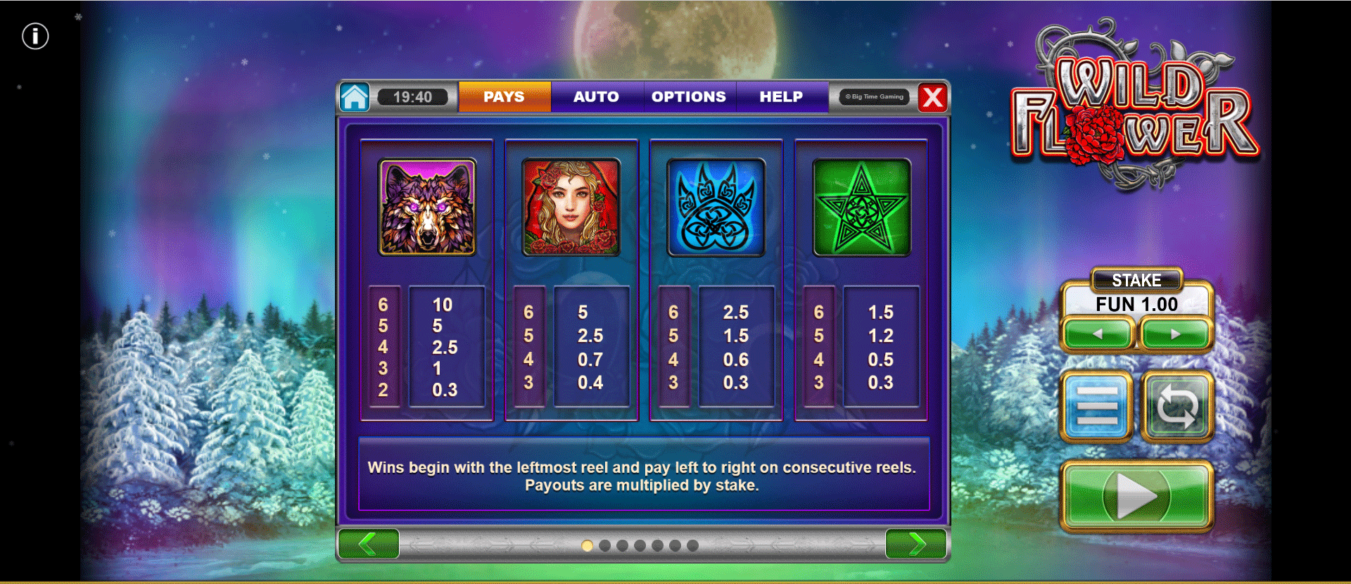 paytable slot machine wild flower
