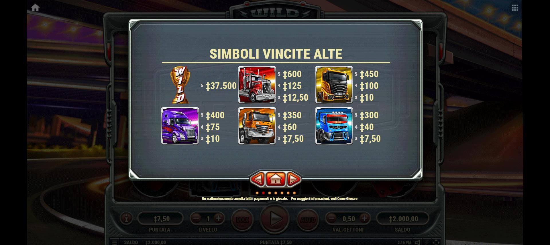 tabella dei pagamenti della slot online wild trucks