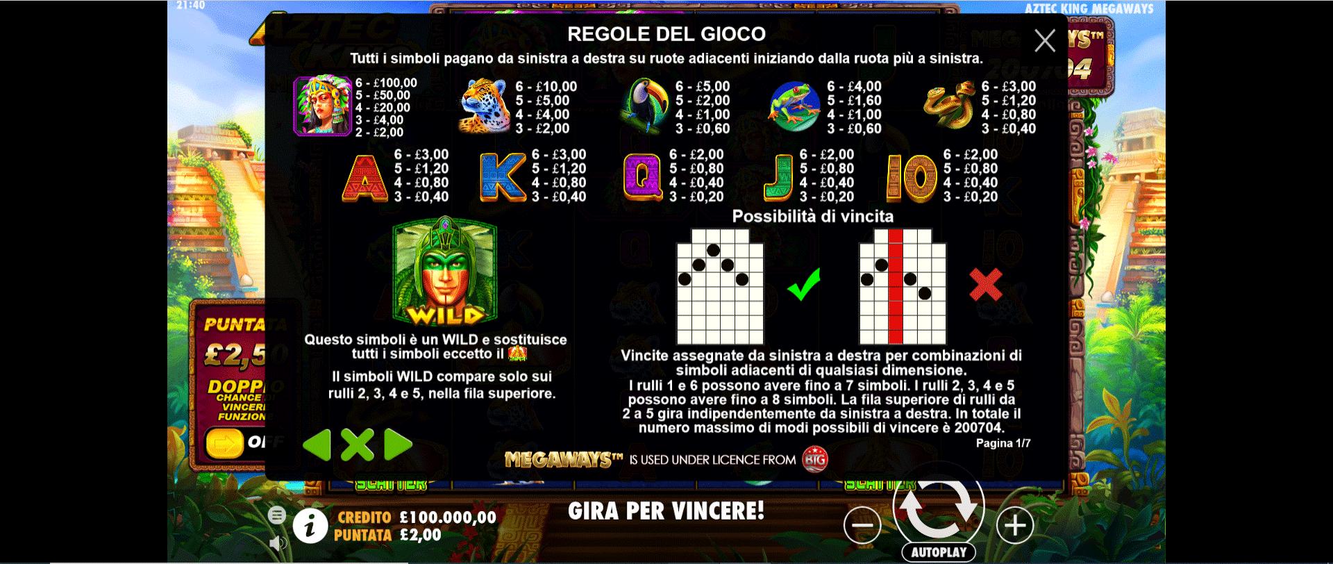 tabella dei simboli della slot online aztec king megaways