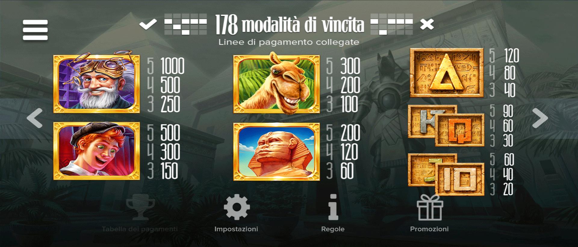paytable della slot machine hidden