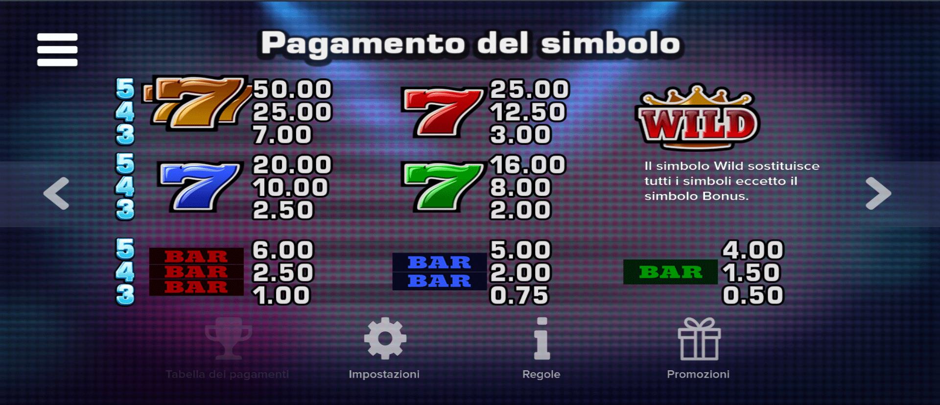 tabella dei pagamenti dei simboli della slot online hit it big