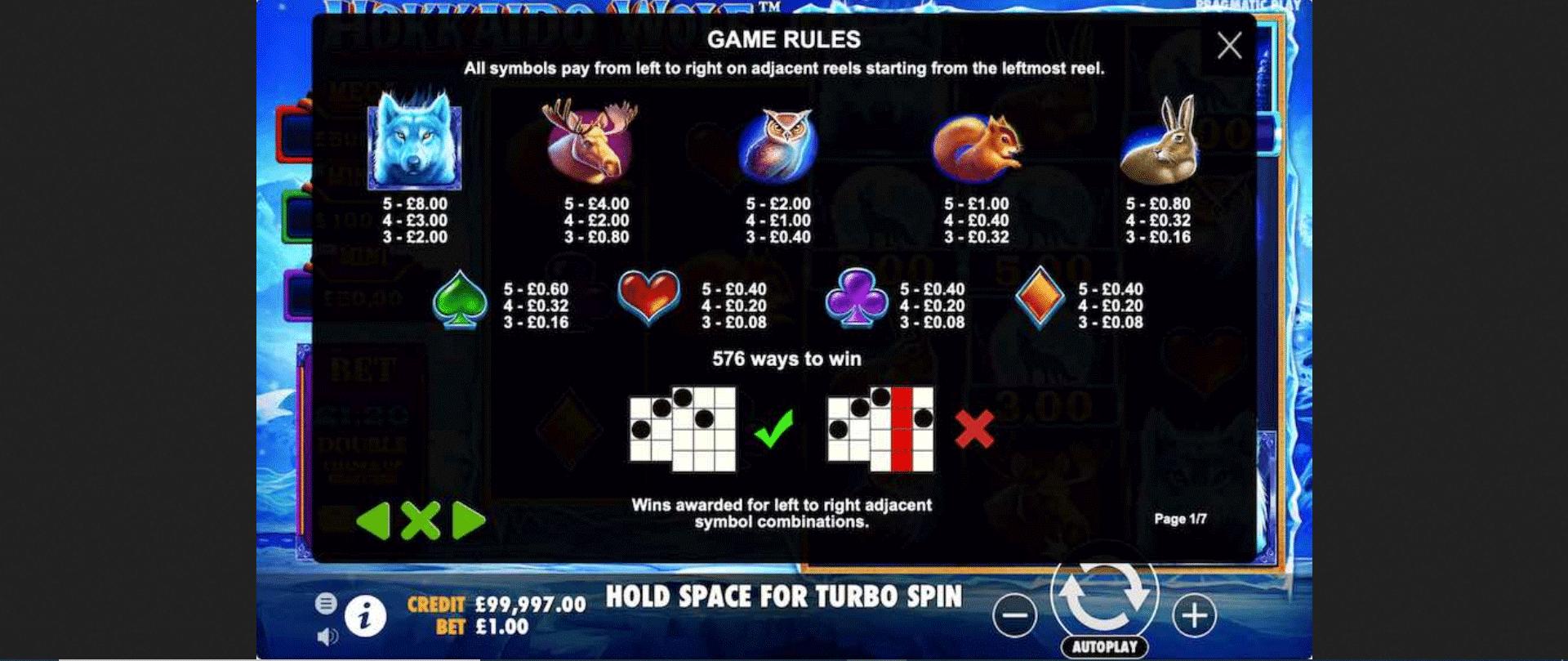 tabella dei simboli della slot online hokkaido wolf